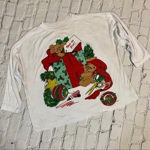 Vintage Ugly Christmas Bear Glitter Print Top XXL